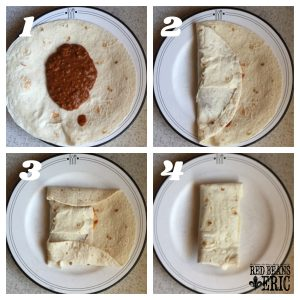 A collage of the cooking steps to making Chili Cheese Burrito by Red Beans and Eric.