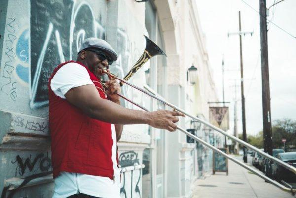 Big Sam Williams playing the trombone