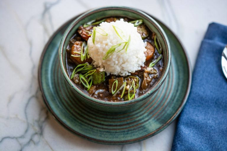 A bowl of Seafood Gumbo from the Marsh House in Nashville, Tennessee.