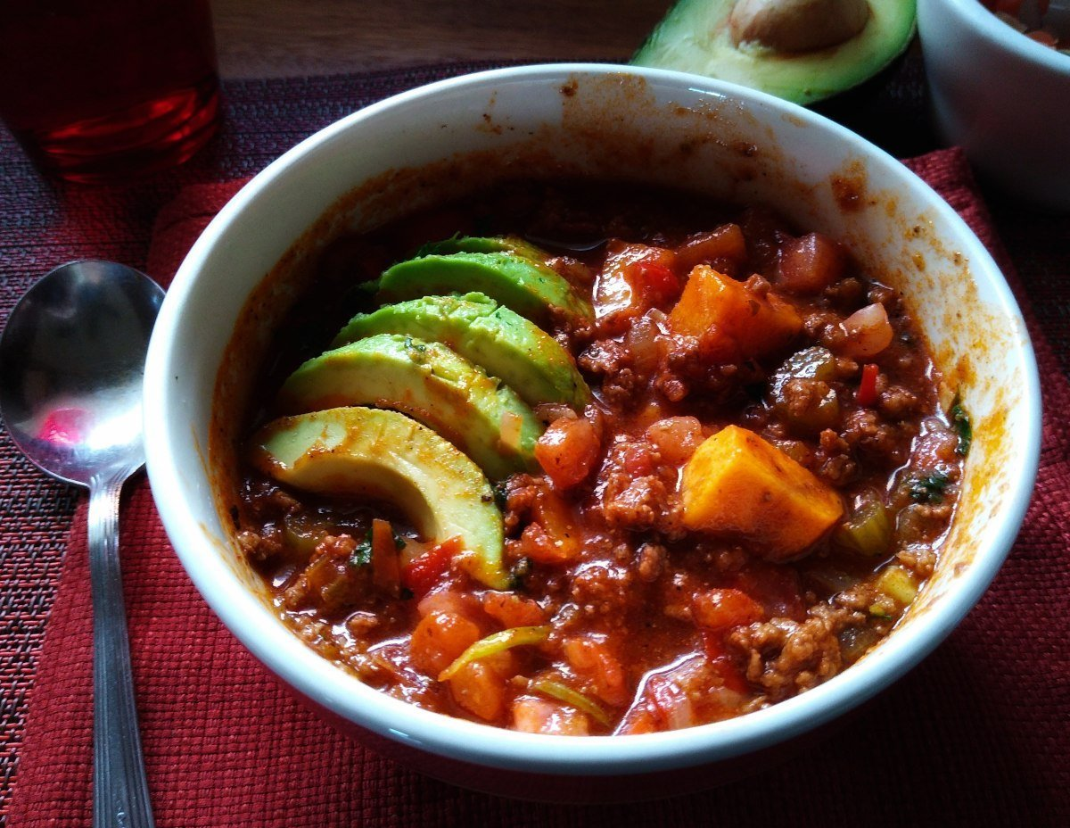 A bowl of Taco Chili con Carne created by Red Beans and Eric