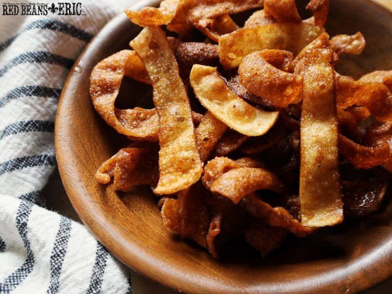 Bowl of Creole Seasoned Fried Wonton Strips