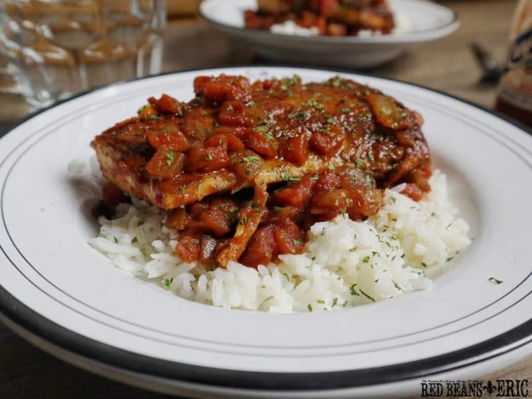 Pan fried Mahi Mahi in a Creole Sauce served over hot cooked white rice by Red Beans and Eric!