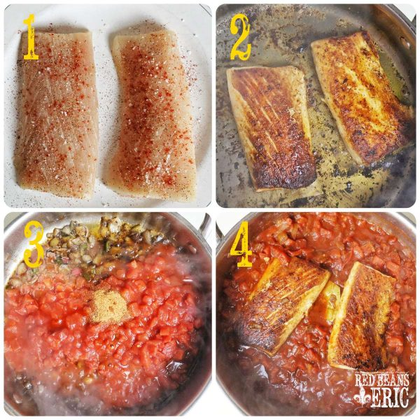 a collage of the cooking steps for cooking the mahi mahi in a creole sauce.