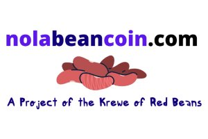 Logo for NOLA Bean Coin dot com. It's a project from the great people of the Krewe of Red Beans.