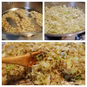 Collage of the cabbage being sautéed. Box one, diced onions are cooking down. Box two, the cabbage and seasoning has been added. Box three, after 15 minutes, the cabbage has softened.