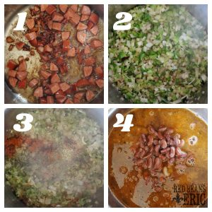 A collage of the steps it takes to make a pot of red beans