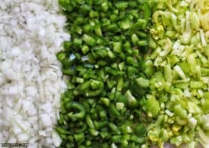 The Holy Trinity of Creole and Cajun cooking: diced onions, green bell peppers, and celery