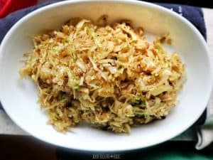 Sautéed Cabbage in a serving bowl.